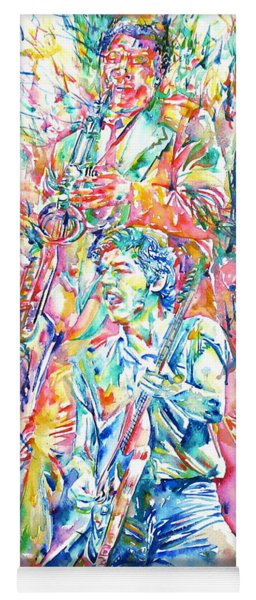 Bruce Springsteen And Clarence Clemons Watercolor Portrait Yoga Mat