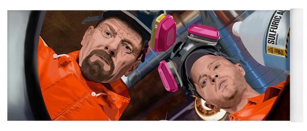 Bryan Cranston As Walter White And Aaron Paul As Jesse Pinkman @ Tv Serie Breaking Bad Yoga Mat