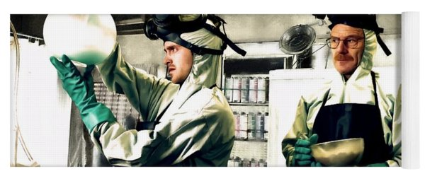 Bryan Cranston As Walter White And Aaron Paul As Jesse Pinkman Cooking Metha @ Tv Serie Breaking Bad Yoga Mat
