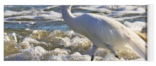 Bubbles Around Snowy Egret Yoga Mat