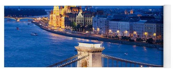 Budapest Cityscape At Night Yoga Mat
