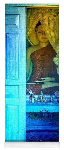 Buddha Behind A Blue Door Yoga Mat
