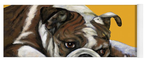 Bulldog On Yellow Yoga Mat