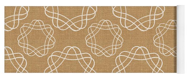 Burlap And White Geometric Flowers Yoga Mat