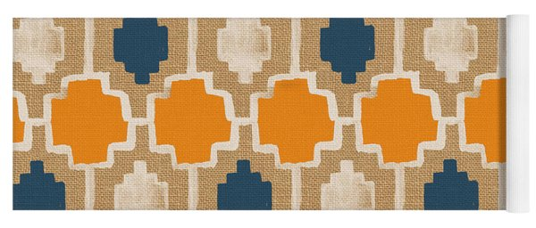 Burlap Blue And Orange Design Yoga Mat