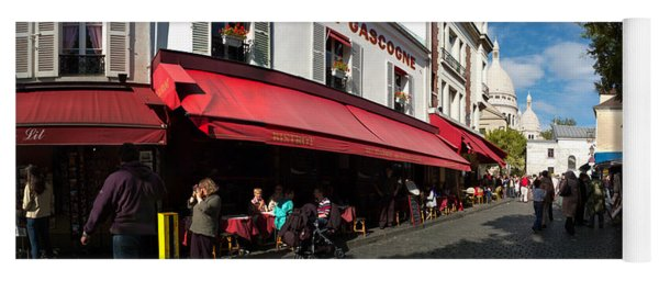 Busy Street Lined With Bistros Yoga Mat