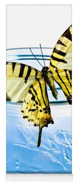 Butterfly On A Blue Jar Yoga Mat