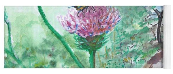Butterfly On Flower  Yoga Mat