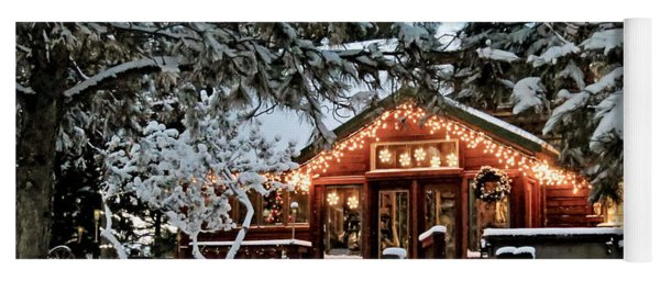 Cabin With Christmas Lights Yoga Mat
