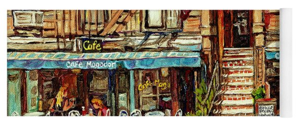 Cafe Mogador Moroccan Mediterranean Cuisine New York Paintings East Village Storefronts Street Scene Yoga Mat