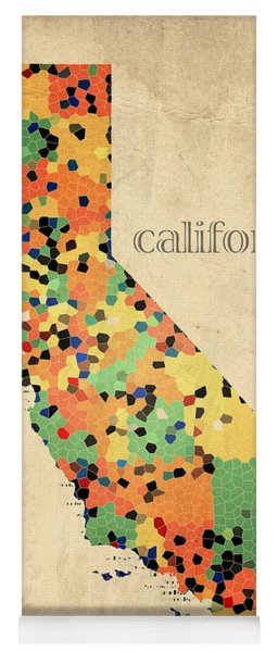 California Map Crystalized Counties On Worn Canvas By Design Turnpike Yoga Mat