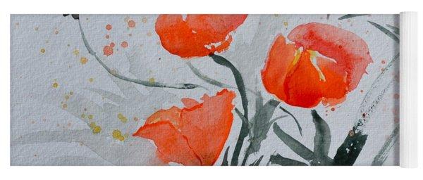 California Poppies Sumi-e Yoga Mat
