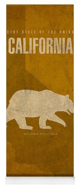 California State Facts Minimalist Movie Poster Art  Yoga Mat