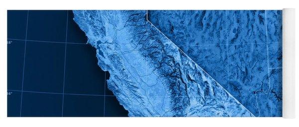 California Topographic Map Yoga Mat