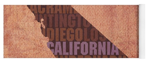 California Word Art State Map On Canvas Yoga Mat
