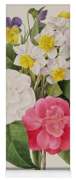 Camellias Narcissus And Pansies Yoga Mat
