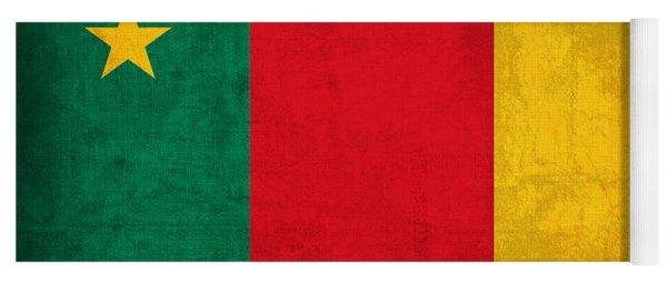 Cameroon Flag Vintage Distressed Finish Yoga Mat
