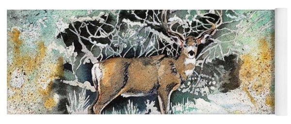 Camouflaged Mule Deer Buck In Winter Yoga Mat