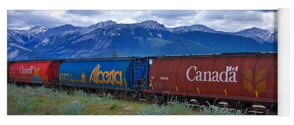 Canadian Freight Train In Jasper #2 Yoga Mat