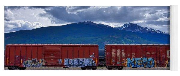 Canadian Freight Train In Jasper Yoga Mat