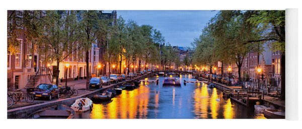 Canal In Amsterdam At Dusk Yoga Mat