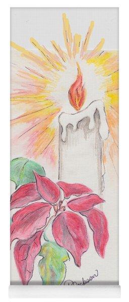Candle And Poinsettia Yoga Mat