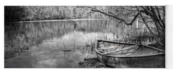 Canoe At The Lake Black And White Yoga Mat