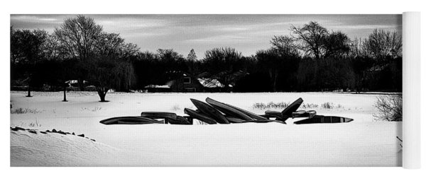Canoes In The Snow - Monochrome Yoga Mat