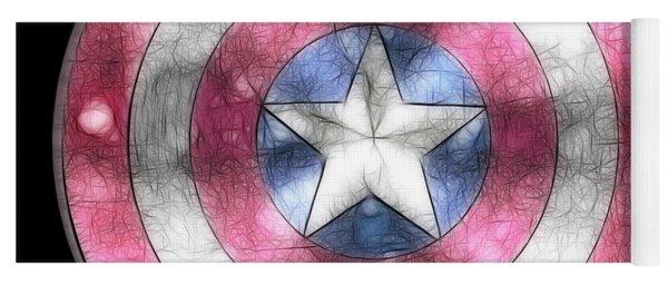Captain America Shield Digital Painting Yoga Mat