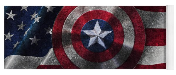 Captain America Shield On Usa Flag Yoga Mat