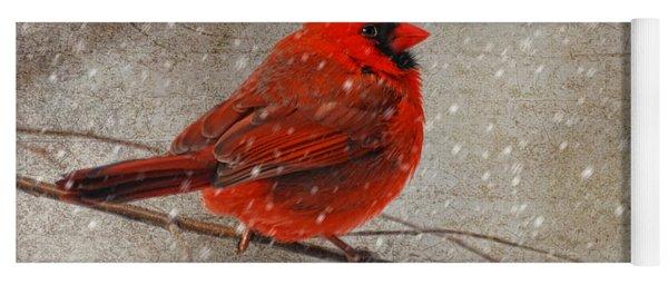 Cardinal In Snow Yoga Mat