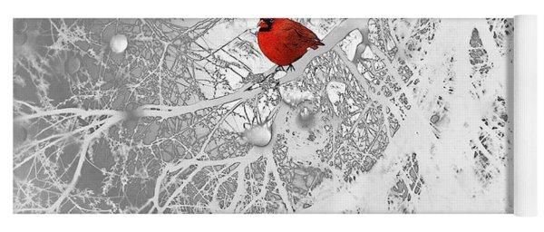 Cardinal In Winter Yoga Mat