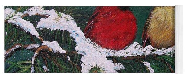 Cardinals In The Snow Yoga Mat