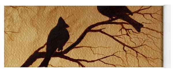 Cardinals Silhouettes Coffee Painting Yoga Mat