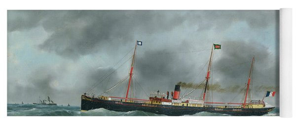 Cargo Steamship Flying The Flag Of The Le Havre Peninsular Company  Yoga Mat