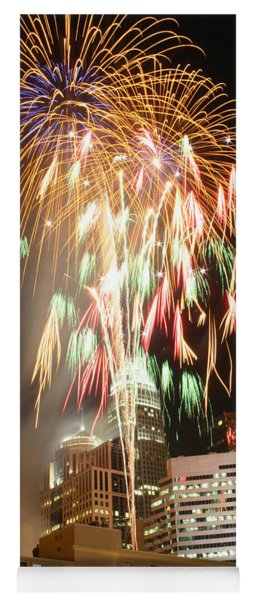 Yoga Mat featuring the photograph Charlotte Fireworks by Joseph C Hinson Photography