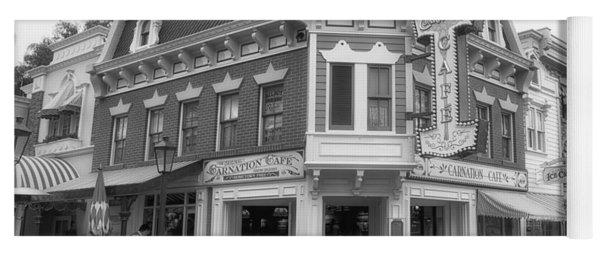 Carnation Cafe Main Street Disneyland Bw Yoga Mat