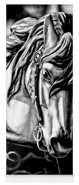 Carousel Horse Two - Bw Yoga Mat