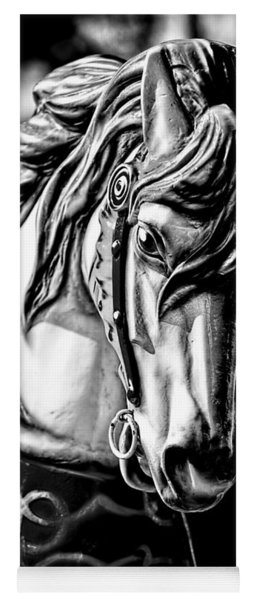 Carousel Horse Two - Bw Yoga Mat