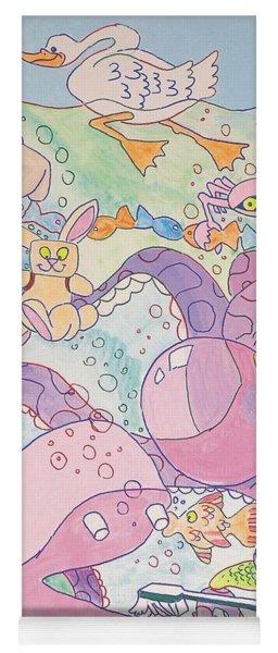 Cartoon Sea Creatures Yoga Mat