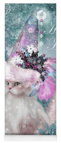 Yoga Mat featuring the mixed media Cat In The Snowflake Santa Hat by Carol Cavalaris
