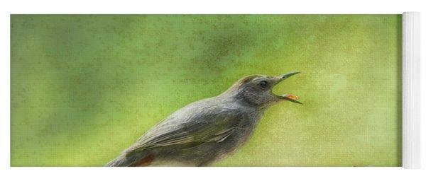 Catbird Eating Cherries Yoga Mat