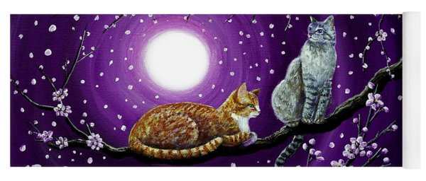 Cats In Dancing Cherry Blossoms Yoga Mat
