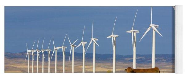 Cattle And Windmills In Alberta Canada Yoga Mat