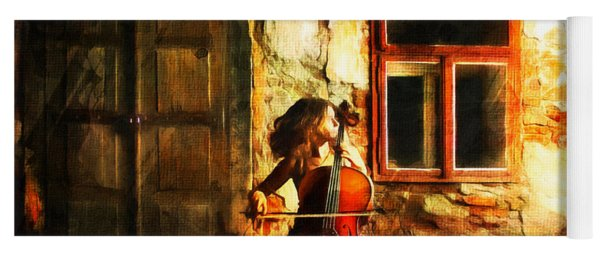 Cellist By Night Yoga Mat
