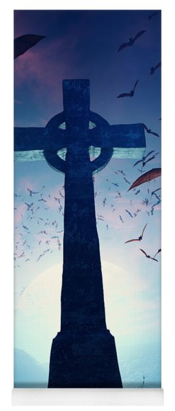 Celtic Cross With Swarm Of Bats Yoga Mat