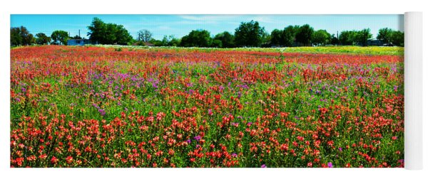 Central Texas Wildflower Wonderland Panorama Yoga Mat
