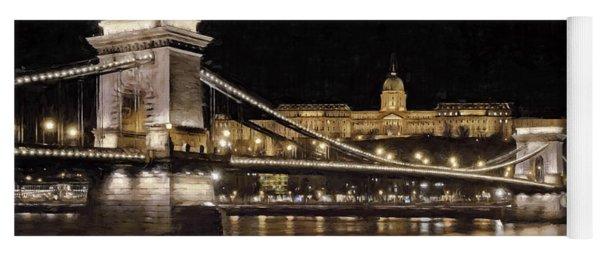 Chain Bridge And Buda Castle Winter Night Painterly Yoga Mat