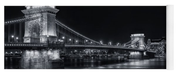 Chain Bridge Night Bw Yoga Mat