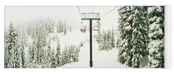 Chair Lift And Snowy Evergreen Trees Yoga Mat